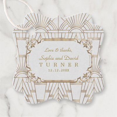 Gold Great Gatsby White Art Deco 1920s Wedding Favor Tags
