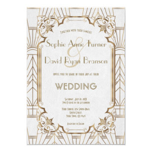 Gold Great Gatsby White Art Deco 1920s Wedding Invitation