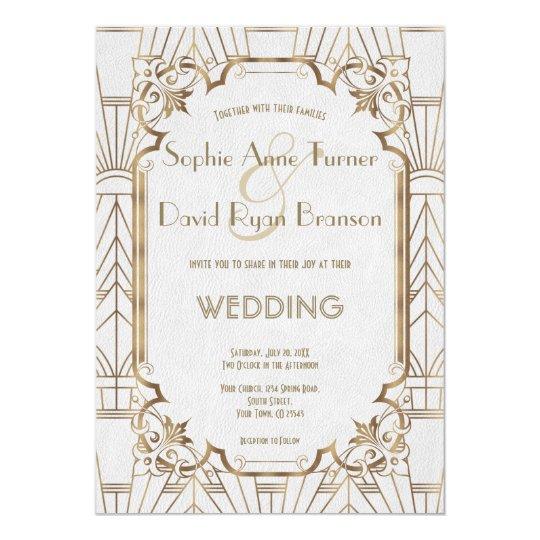 Art Deco Wedding Invitation: Gold Great Gatsby White Art Deco 1920s Wedding Invitation
