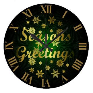 Gold Greean and Black Season Greetings Christmas Wall Clocks
