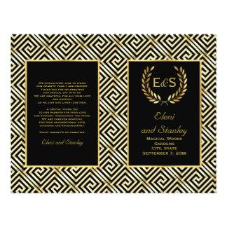 Gold Greek key & laurel wreath wedding program