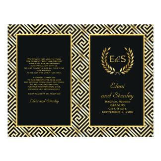 """Gold Greek key & laurel wreath wedding program 8.5"""" X 11"""" Flyer"""