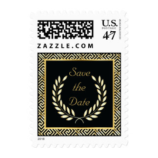 Gold Greek key laurel wreath wedding Save the Date Postage