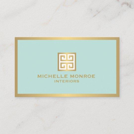 Gold Greek Key On Mint Interior Designer Business Card