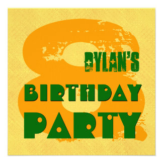 GOLD GREEN 8th Birthday Party 8 Year Old V11K Personalized Announcements