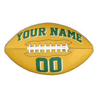 GOLD GREEN AND WHITE Custom Football