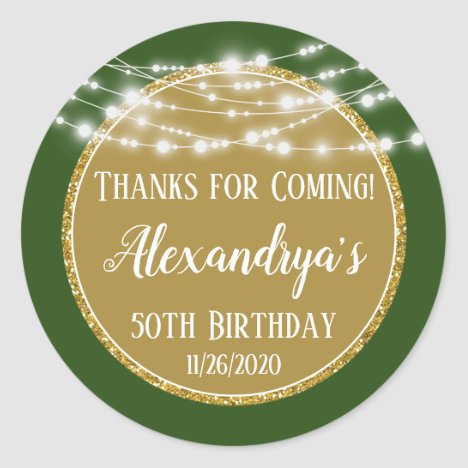 Gold Green Birthday Thanks For Coming Favor Tags