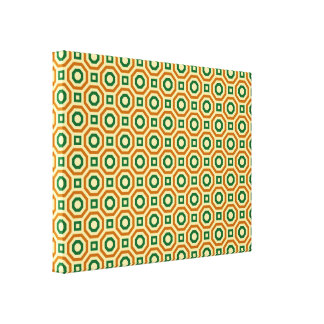 Gold/Green/Brown Nested Octagons Wrapped Canvas