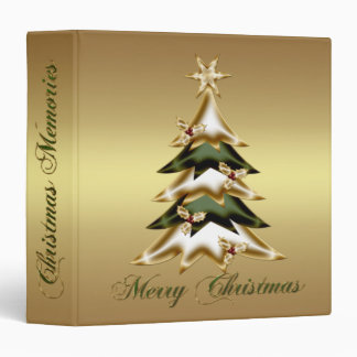 Gold Green Christmas Tree Holly Berries Photo 3 Ring Binders