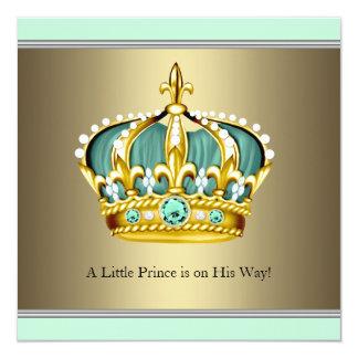 Gold Green Crown Prince Baby Boy Shower Custom Invitation