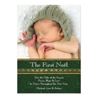 Gold Green Damask Babys First Christmas Card