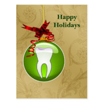 gold green Dentist Holiday Cards