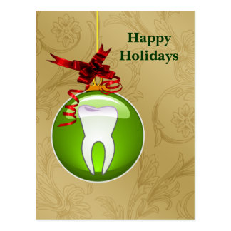 gold green Dentist Holiday Cards Postcard