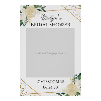 Gold Green Floral Bridal Shower Photo Prop Poster