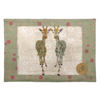 Gold & Green Giraffes Monogram Placemat