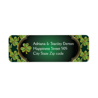 Gold, green Irish clover and frame wedding Label