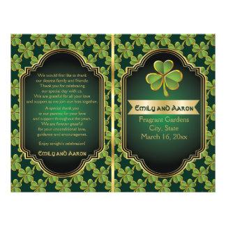 Gold, green Irish clover wedding folded program Flyer