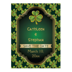 Gold, Green Irish Clover Wedding Save The Date Postcard at Zazzle