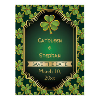 Gold, green Irish clover wedding Save the Date Postcards
