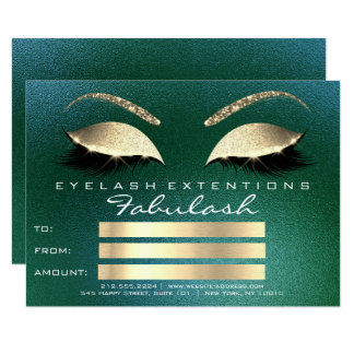Gold Green Lashes Extens Makeup Certificate Gift Card