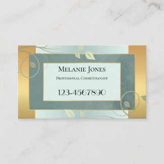 Gold Green Leaves Appointment Business Card