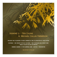 Gold & Green Oriental Bamboo Leaves Asian Wedding Invitation