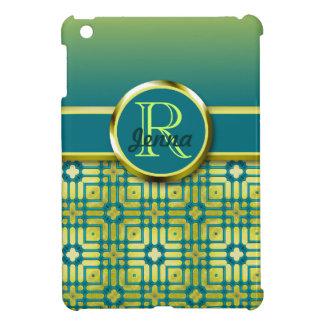 Gold & Green Pattern Mosaic Monogram Case For The iPad Mini