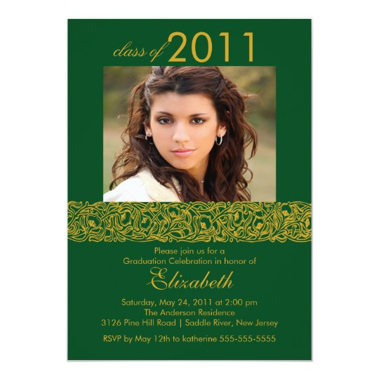 Gold & Green Photo Graduation Invitation
