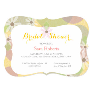 Gold, Green & Pink I White Daisies Bridal Shower Custom Announcement