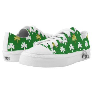 Gold & Green Shamrock Pattern St Patrick's Day Low-Top Sneakers