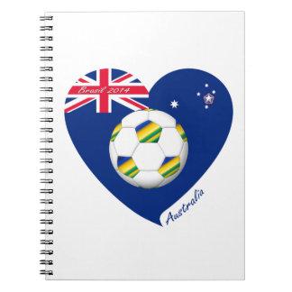 """Gold & Green Soccer Team. Fútbol de """"AUSTRALIA"""" Libros De Apuntes Con Espiral"""