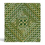 Gold Green Square Shapes Celtic Knotwork Pattern 3 Ring Binder