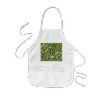 Gold Green Square Shapes Celtic Knotwork Pattern Apron