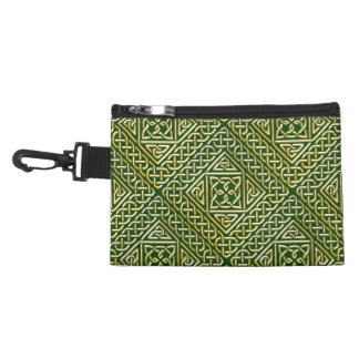 Gold Green Square Shapes Celtic Knotwork Pattern Accessories Bags