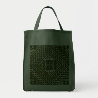 Gold Green Square Shapes Celtic Knotwork Pattern Tote Bag