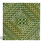 Gold Green Square Shapes Celtic Knotwork Pattern Binders
