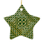 Gold Green Square Shapes Celtic Knotwork Pattern Ceramic Ornament
