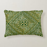Gold Green Square Shapes Celtic Knotwork Pattern Decorative Pillow
