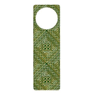 Gold Green Square Shapes Celtic Knotwork Pattern Door Hanger