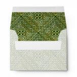 Gold Green Square Shapes Celtic Knotwork Pattern Envelope