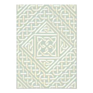 Gold Green Square Shapes Celtic Knotwork Pattern 5x7 Paper Invitation Card
