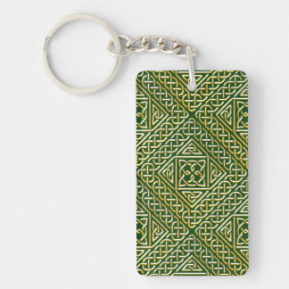 Gold Green Square Shapes Celtic Knotwork Pattern Keychain