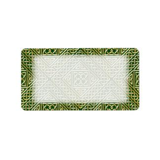Gold Green Square Shapes Celtic Knotwork Pattern Label