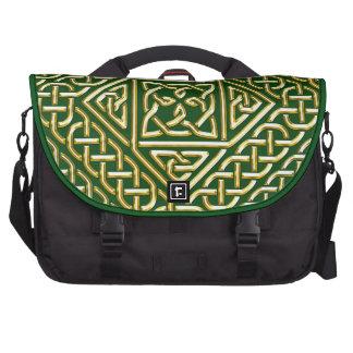 Gold Green Square Shapes Celtic Knotwork Pattern Laptop Computer Bag