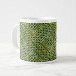 Gold Green Square Shapes Celtic Knotwork Pattern Large Coffee Mug