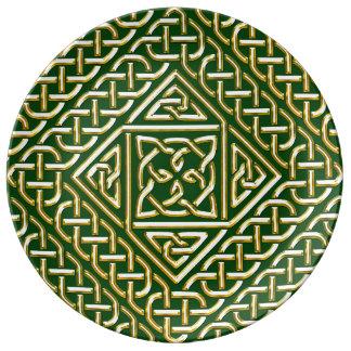 Gold Green Square Shapes Celtic Knotwork Pattern Porcelain Plates