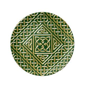 Gold Green Square Shapes Celtic Knotwork Pattern Porcelain Plate