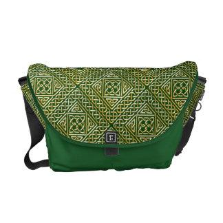 Gold Green Square Shapes Celtic Knotwork Pattern Messenger Bag
