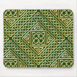 Gold Green Square Shapes Celtic Knotwork Pattern Mouse Pad