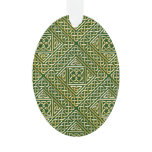 Gold Green Square Shapes Celtic Knotwork Pattern Ornament